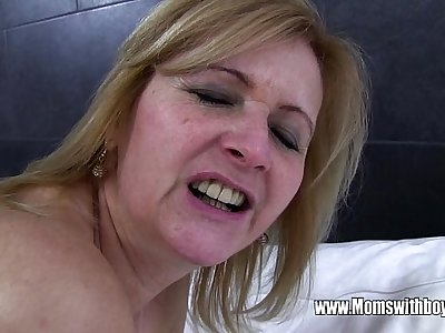 Young Stud Fucks His Mature Maid Catching Him With Porn