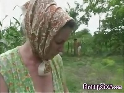 Grandma Being Fucked In The Butt Outside