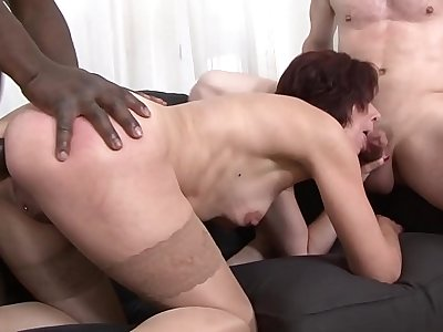 Mature Lara gets anal drilled and fucked in her pussy by black and white men