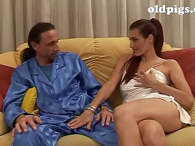 Amazing mature brunette seduces a young man for fuck