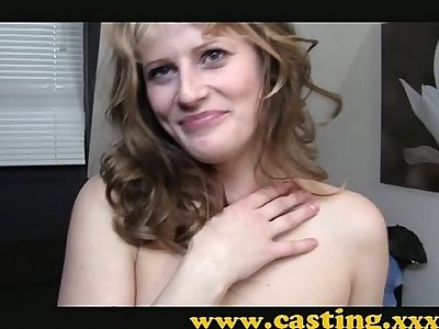 Casting - Amateur kooky babe gets her first taste of porn