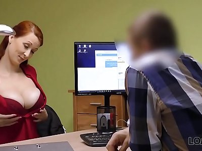 LOAN4K. Agent in credit company loves boobs of his gorgeous customer