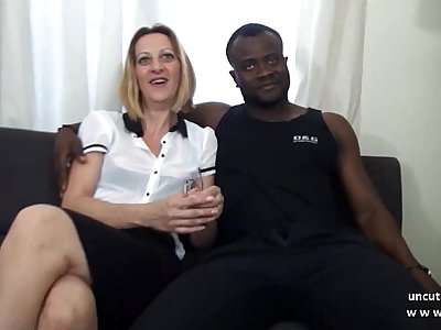 Casting couch french mature mom hard DP by white and black dicks