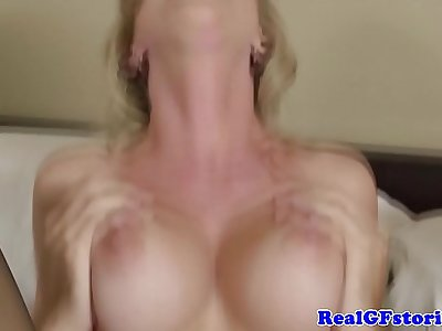 Blonde busty housewife milf drilled