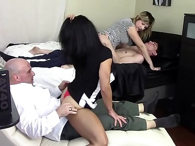 STEP MOM GRINDS SON'S DICK WHILE STEP DAUGHTER GRINDS STEP DADDY'S DICK (FAMILY TABOO)